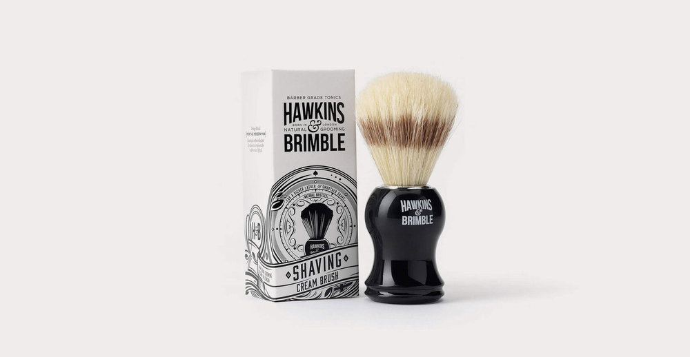 Branding and packaging design for male grooming brand Hawkins and Brimble by Design Happy London - Shaving cream brush