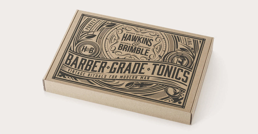 Brand identity and packaging design for male grooming brand Hawkins and Brimble - Detailed illustration gift set.jpg