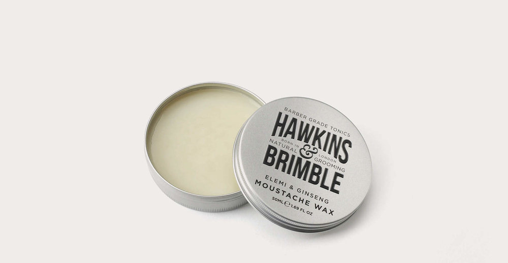 Branding and packaging design for male grooming brand Hawkins and Brimble - Moustache wax tin