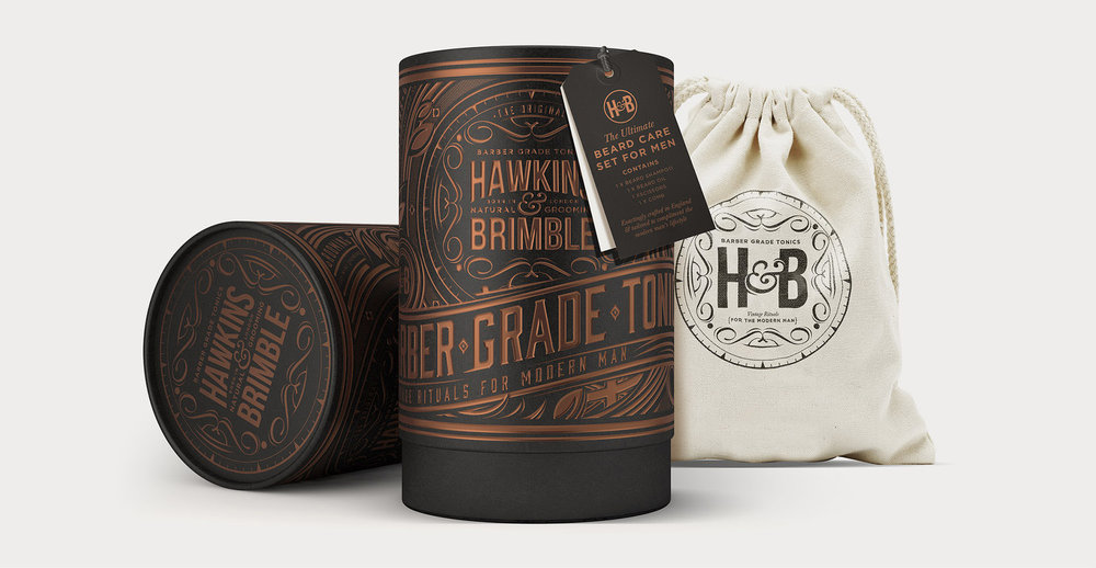 Branding and packaging design for male grooming brand Hawkins and Brimble - Christmas gift set
