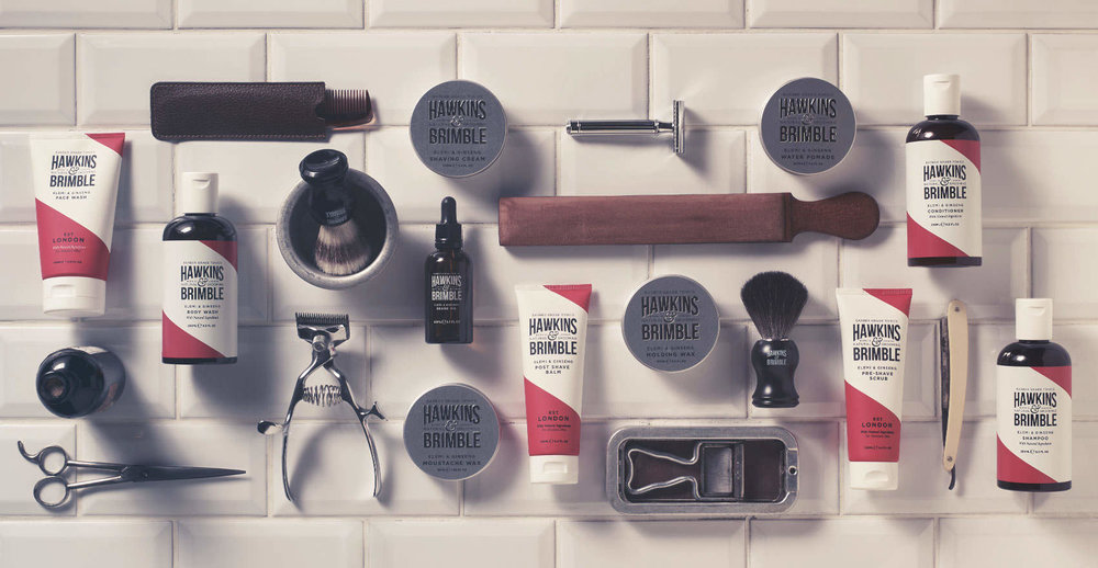 Branding and packaging design for male grooming brand Hawkins and Brimble - vintage rituals for the modern man
