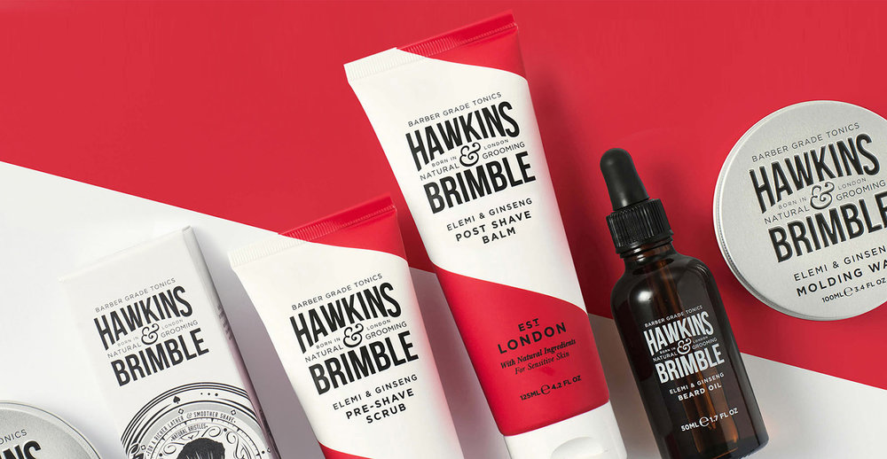 Branding and packaging design for male grooming brand Hawkins and Brimble by Design Happy London - Full range close up