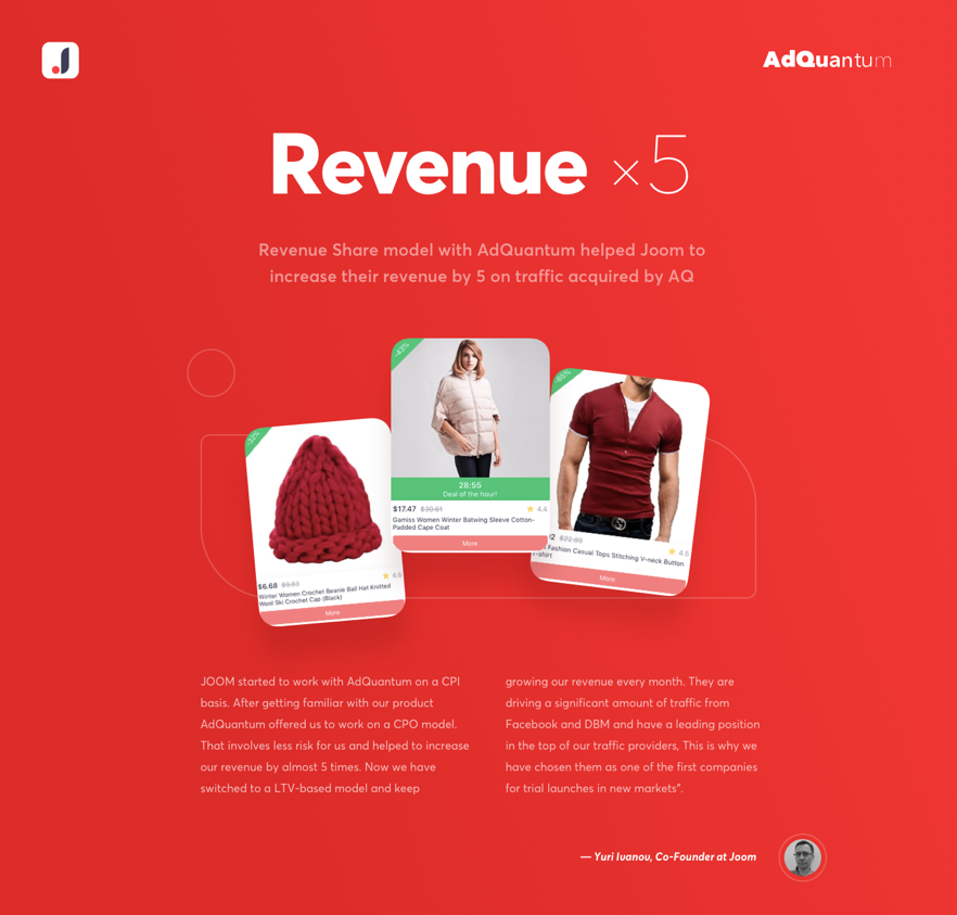 AdQuantum increases Revenue by 5 times for an e-commerce store -