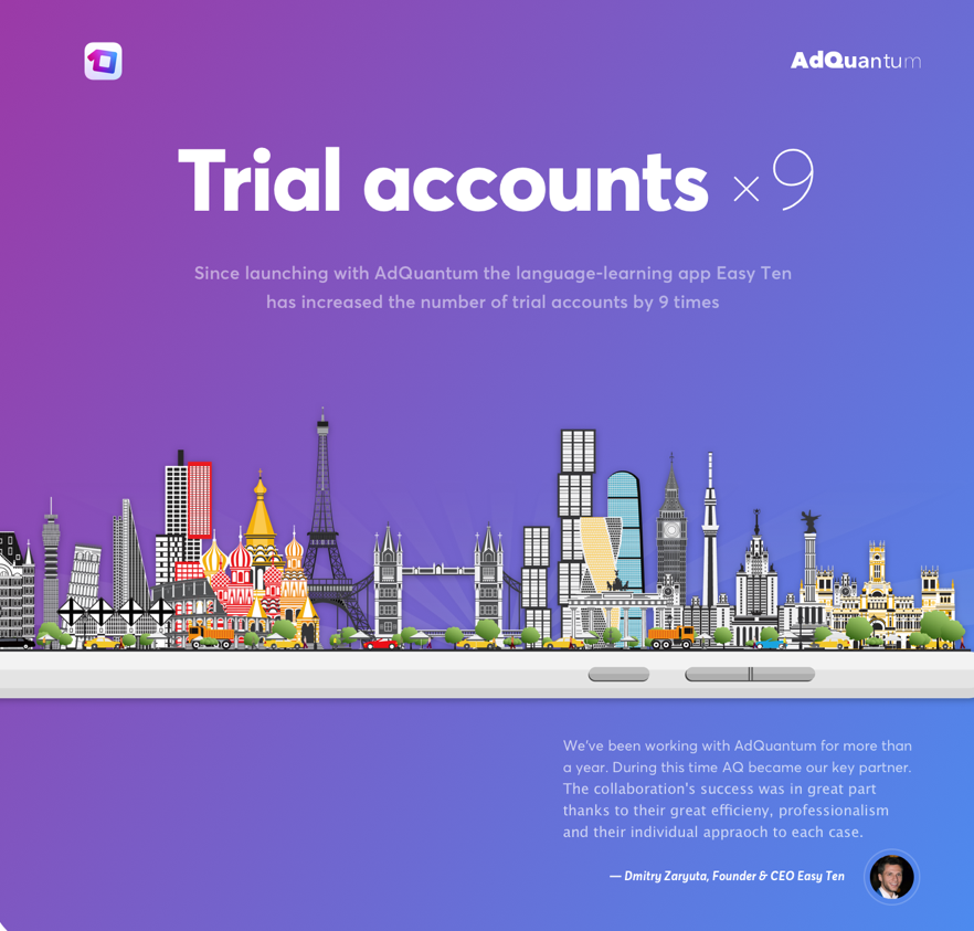 AdQuantum increases trial accounts for Language Learning app by 9 times -