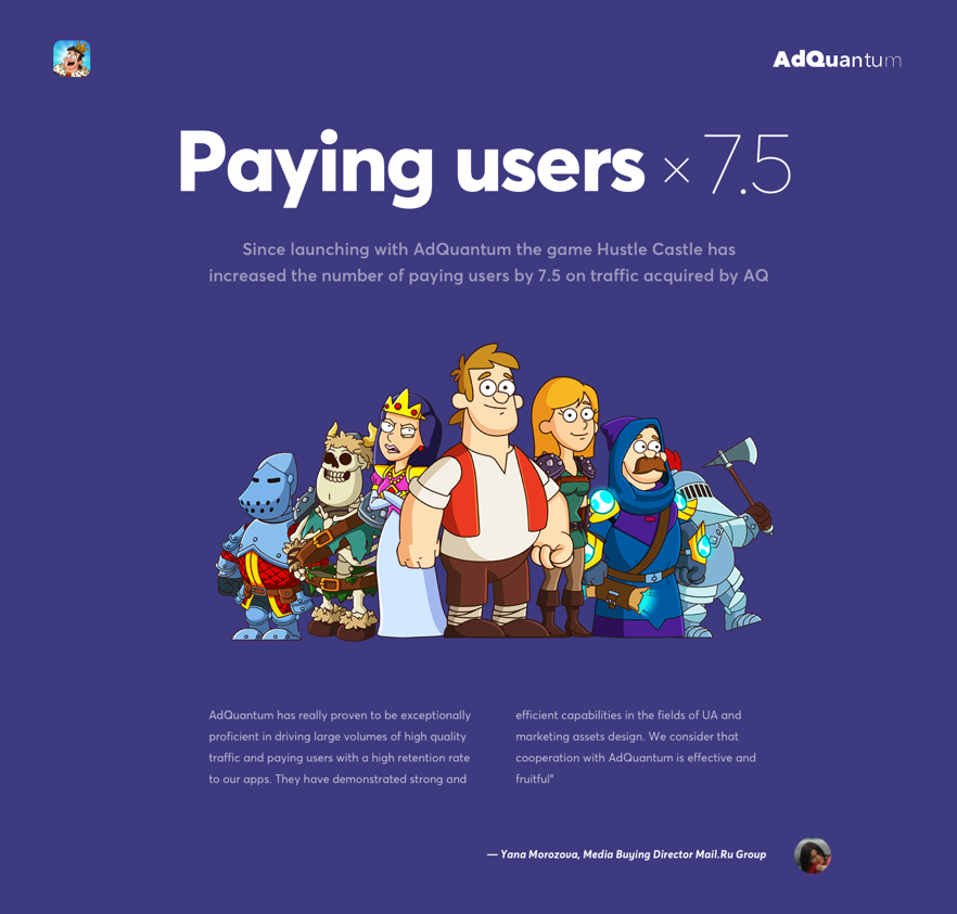 AdQuantum increases paying users for game Hustle Castle by 7.5 times -
