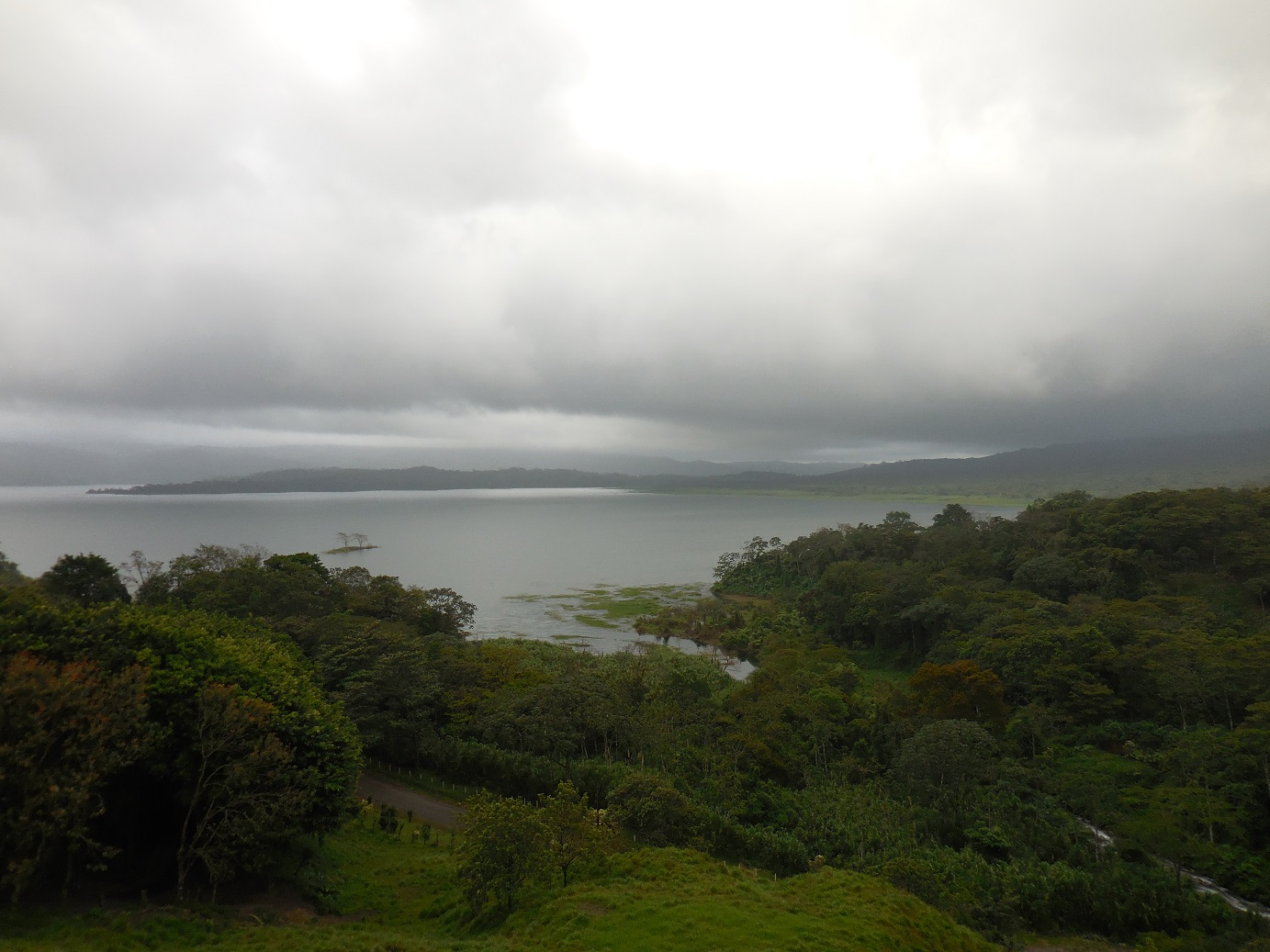 clouded, but stunning view of Lake Arenal