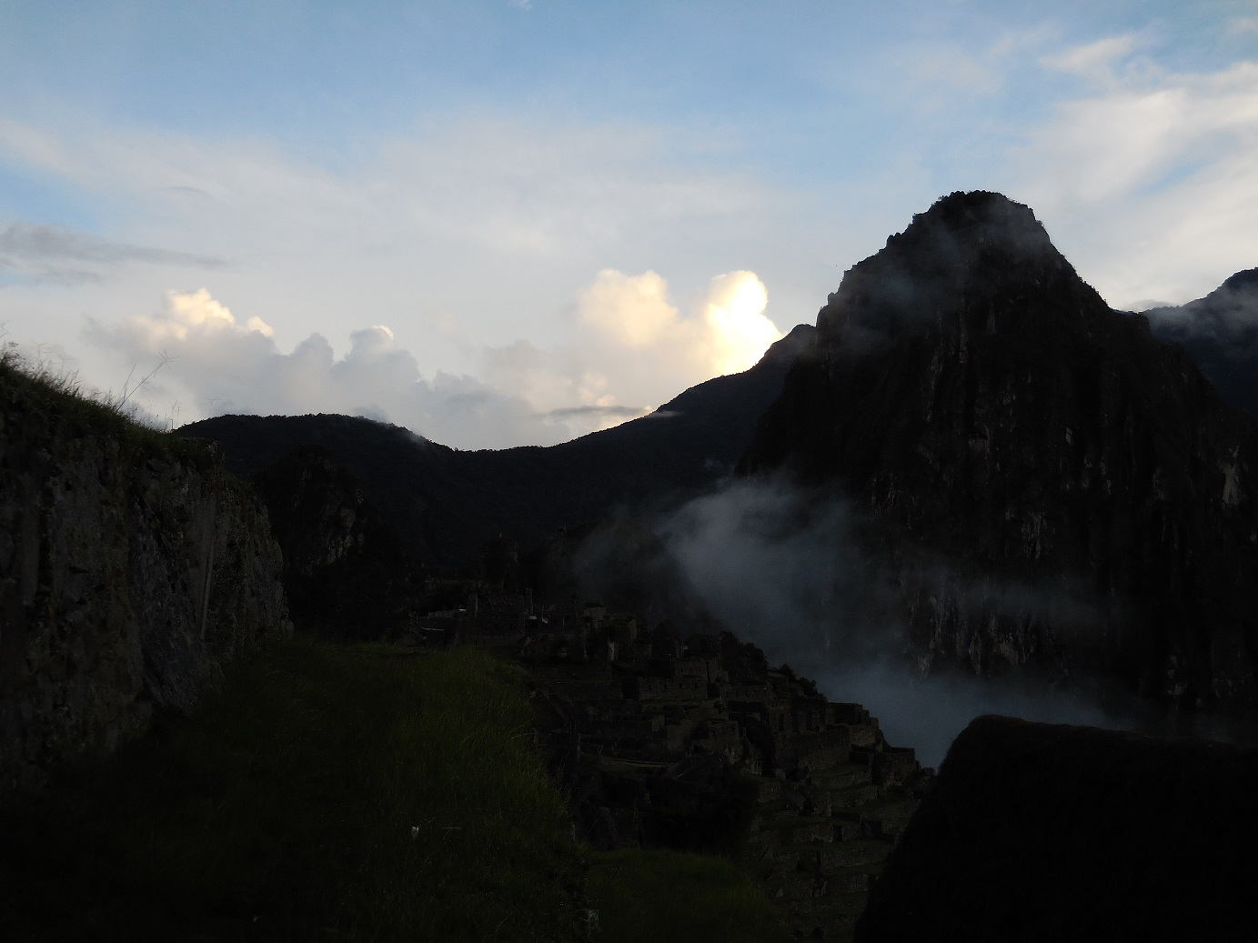 Fog rolling in on Machu Picchu
