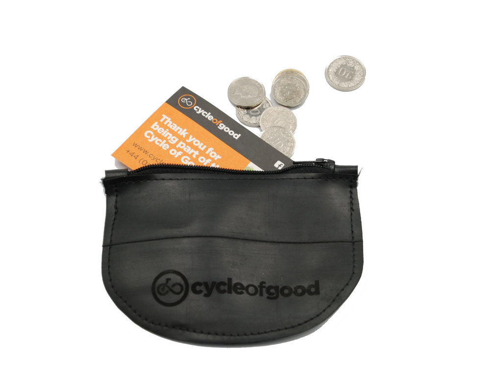The Cycle of Good Coin Purse - perfect jersey pocket sized waterproof holder for a note or two, a debit/credit card and a few coins - enough to sort out a coffee stop or two! Just £7.50 to buy!