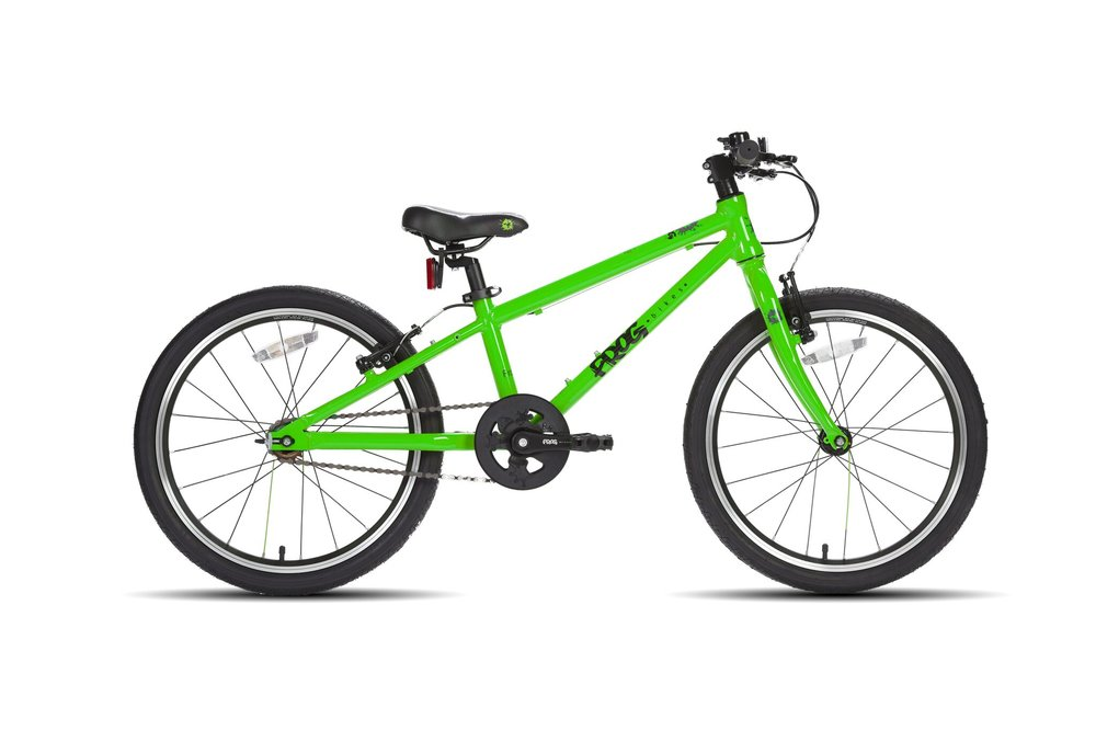 The Frog 52 Single (£280) is a single speed first pedal bike designed for taller riders who are still learning to ride. This bike enables them to gain confidence in the areas of balance and pedalling, without the worry of gears. This is a new edition following our departure at Speeds and we're sure it's popular with parents! This version of the Frog 52 is only available in green and red.