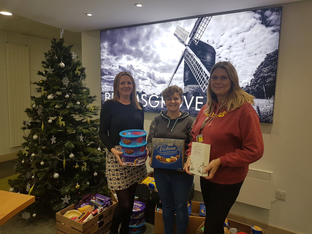 From left to right - Sadie from the Basement Project, myself and Marina from the Basement Project. Crates of food essentials, sweet treats and toiletries were donated by business residing in Basepoint Bromsgrove and by customers of Academy Bikeworks! THANK YOU!!!!
