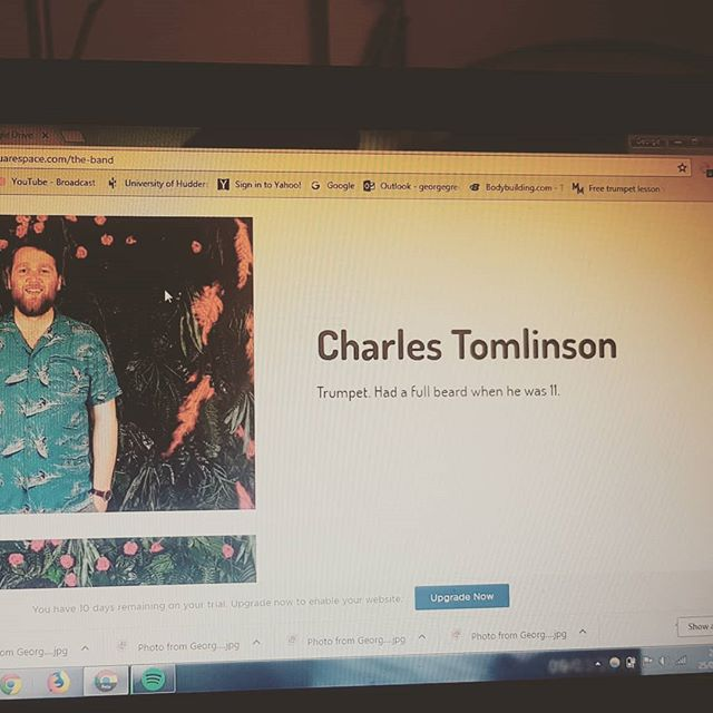 Website building. It isn't far from being up and ready! Been having fun trying to think of some serious little bios for the band members... . . . . . . . . . . . . #website #skanival #amateur #design #smile #band #work #beard #trumpet #laptop #fun #bio #bethefirsttodance #flatcap #joker