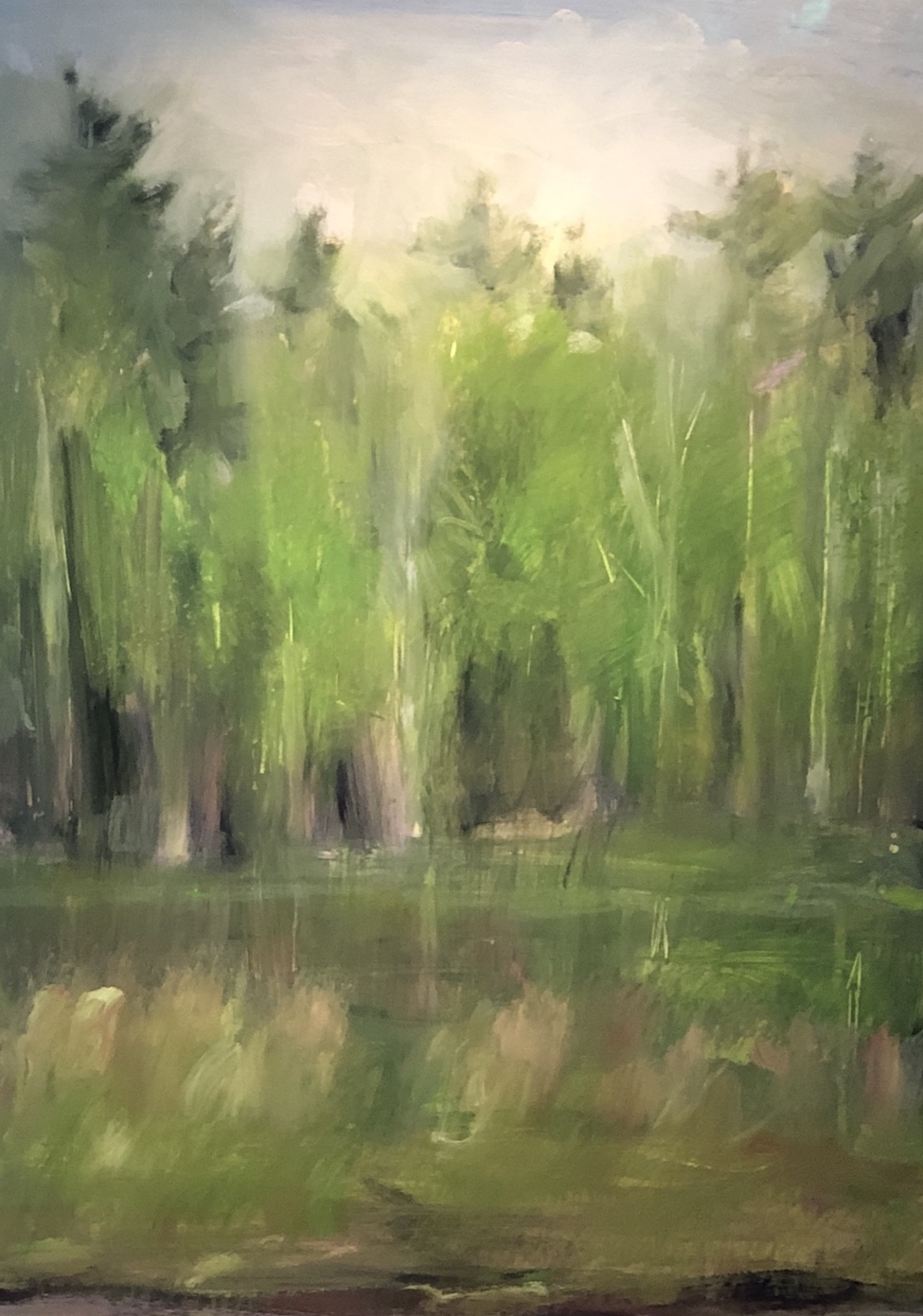Woods Along the River, May, Oil on paper, 29 x 22.5""