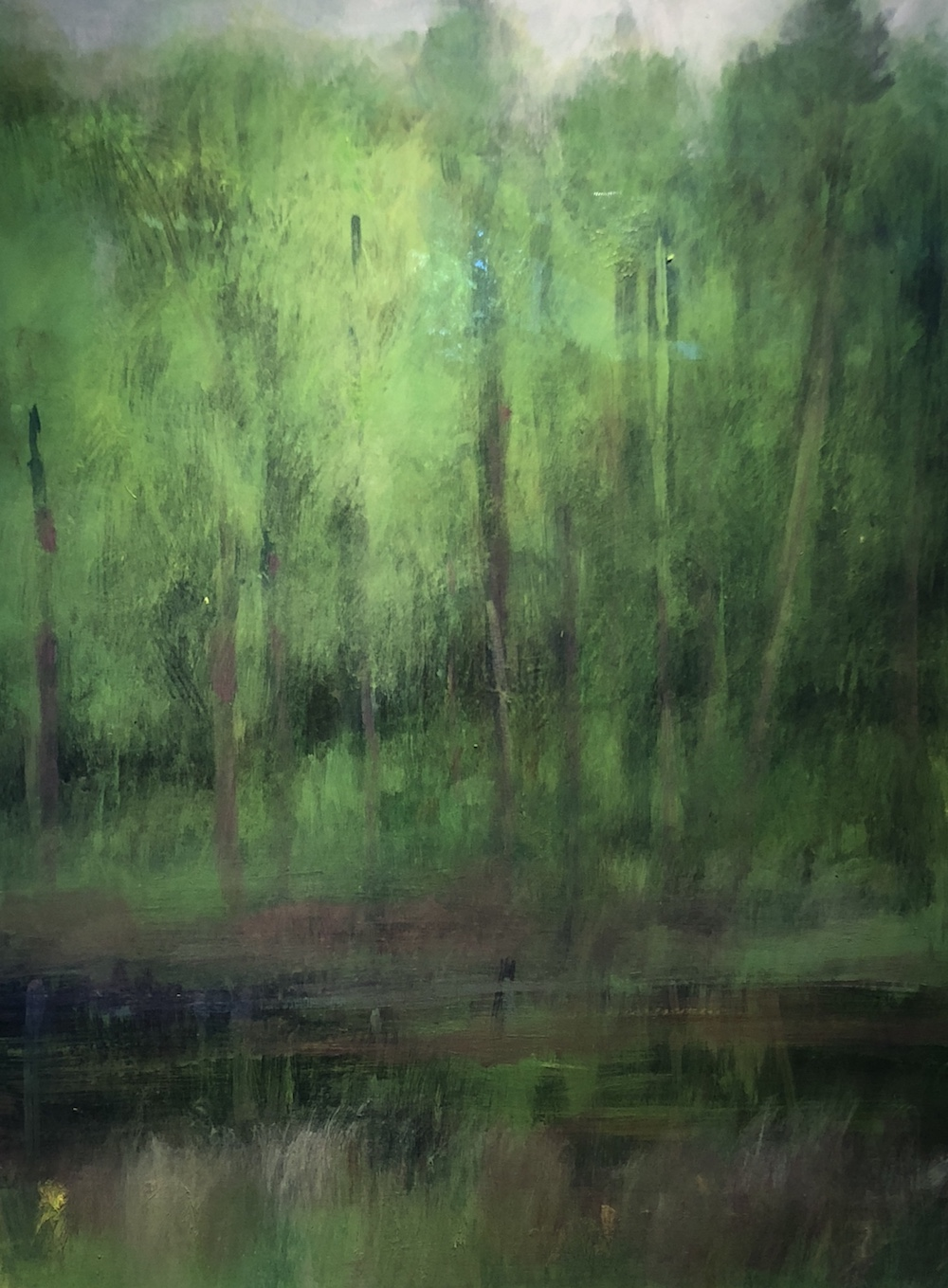 Woods by the River, June, Oil on canvas, 29 x 22""