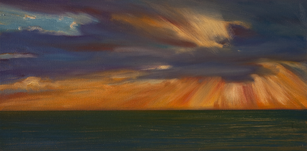 Atlantic Sunrise Study #1, Oil on canvas, 6 x 12""
