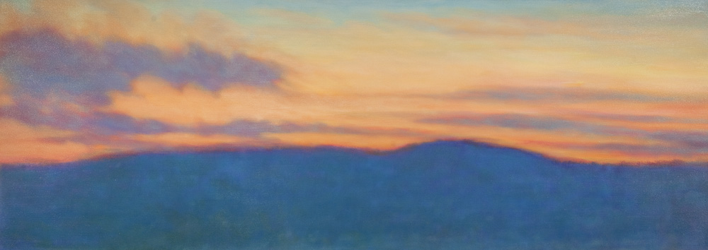 Blue Mountain Sunset, Oil on canvas, 26 x 72""