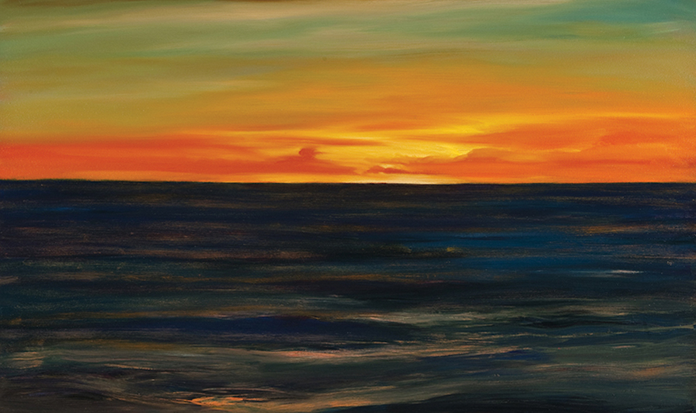 Puget Sunset, Oil on canvas, 32 x 54""