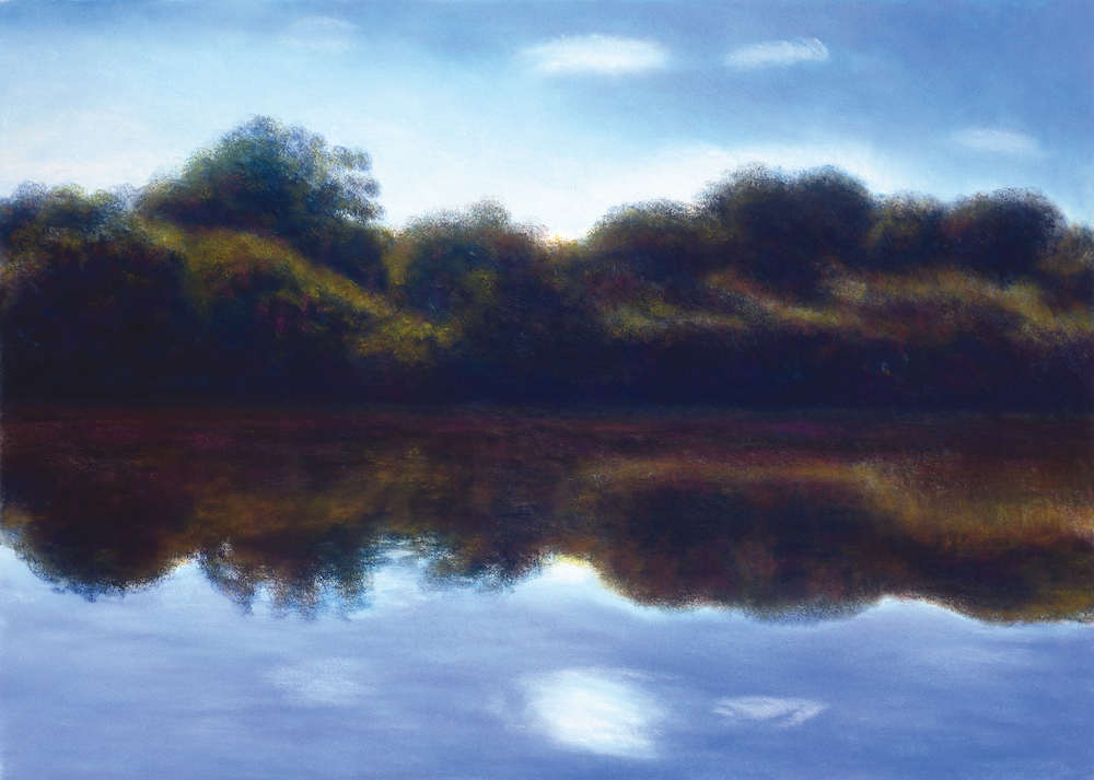 September, Housatonic Refection, Pastel, 35 1/4 x 49""