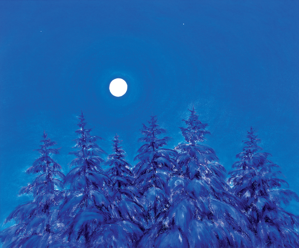 Full Moon, Winter Pines, Pastel, 26 x 31""