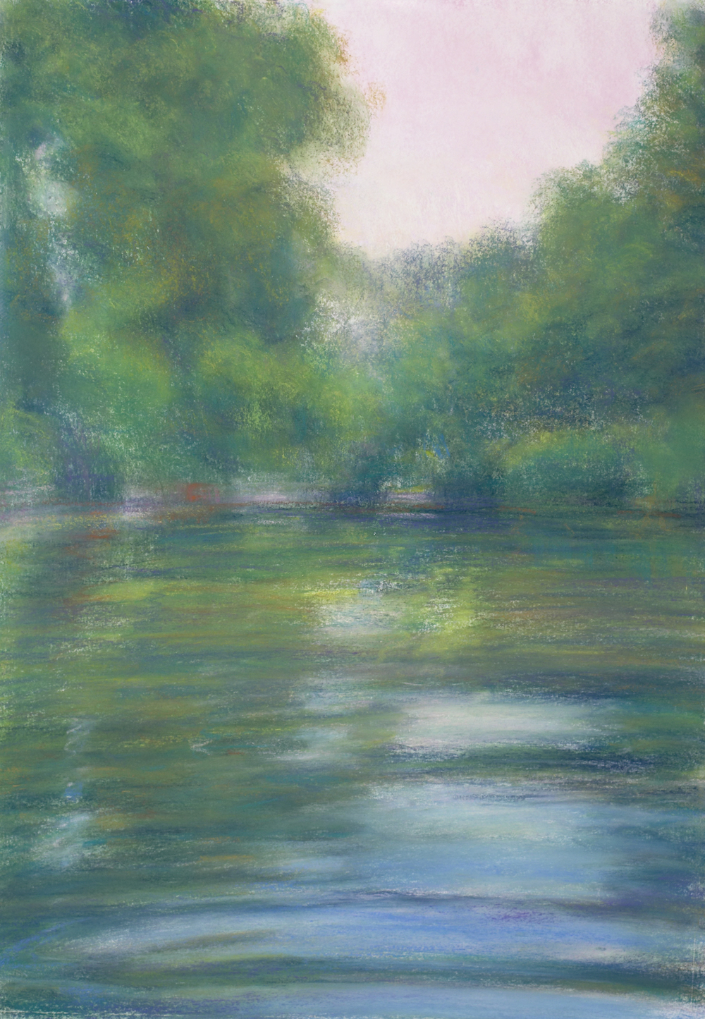 Green River, Summer Dusk, Pastel, 20 1/2 x 14""