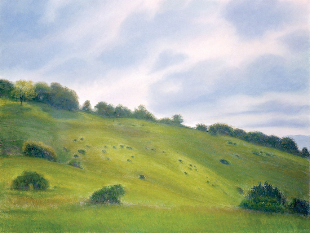 """Montebello, Spring Hillside, Pastel, 38 x 50"""""""