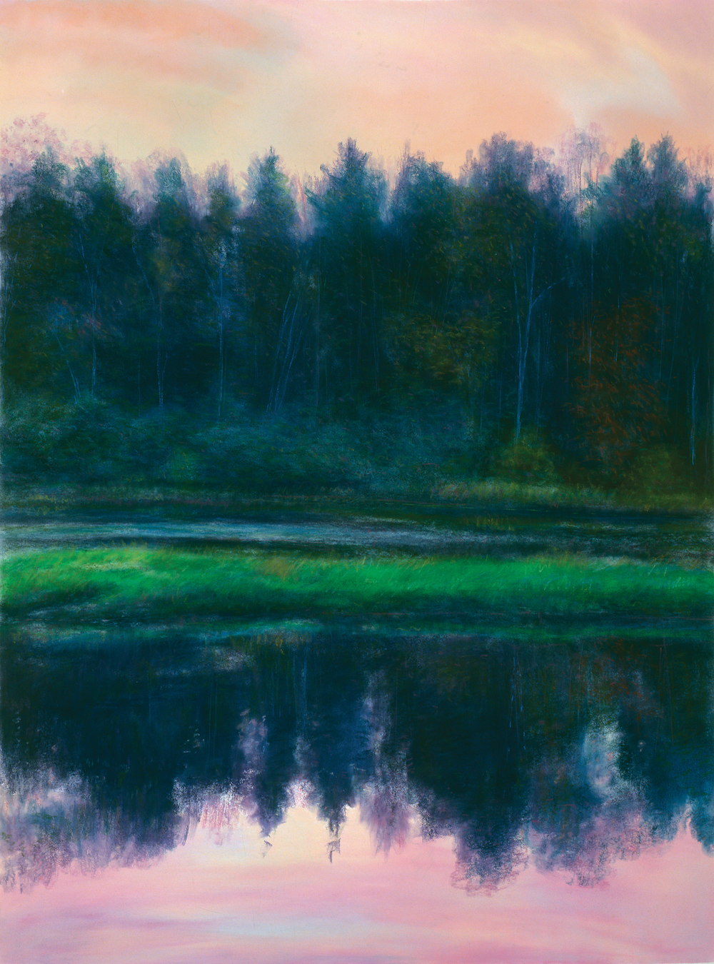 October Dusk, Housatonic Reflection, Pastel, 49 1/2 x 37""