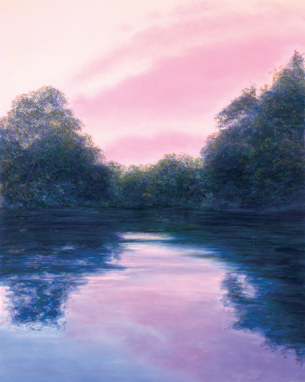 End of Summer, Housatonic Dusk, Pastel, 45 x 36""