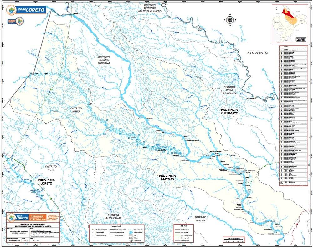 Map of the Napo River Basin -  Click the map to enlarge   North to South: Cabo Pantojo, Santa Maria -Church, Elnira - Church, Angoteros, Cedar Island - Church, Vencedores - Church, Pucayacu - Church
