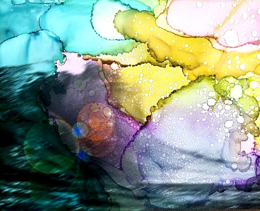 Photograph of wave in Oahu, Hawaii. Alcohol ink over photography. Photo compliments of Ritzy Schaefer.