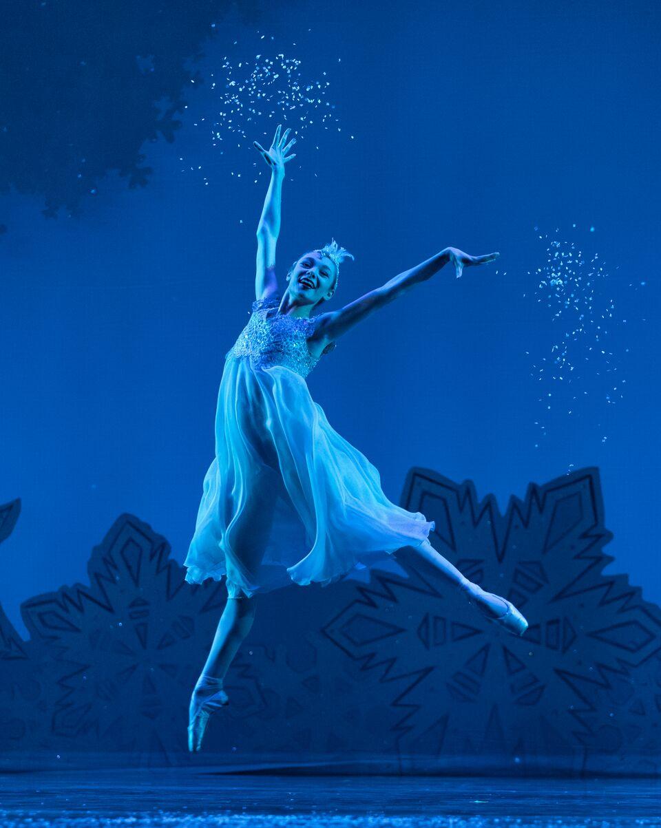 Samantha Riester as  Snowflake  in Victoria Morgan's  The Nutcracker.  Courtesy of  Cincinnati Ballet  Photo by   Peter Mueller.