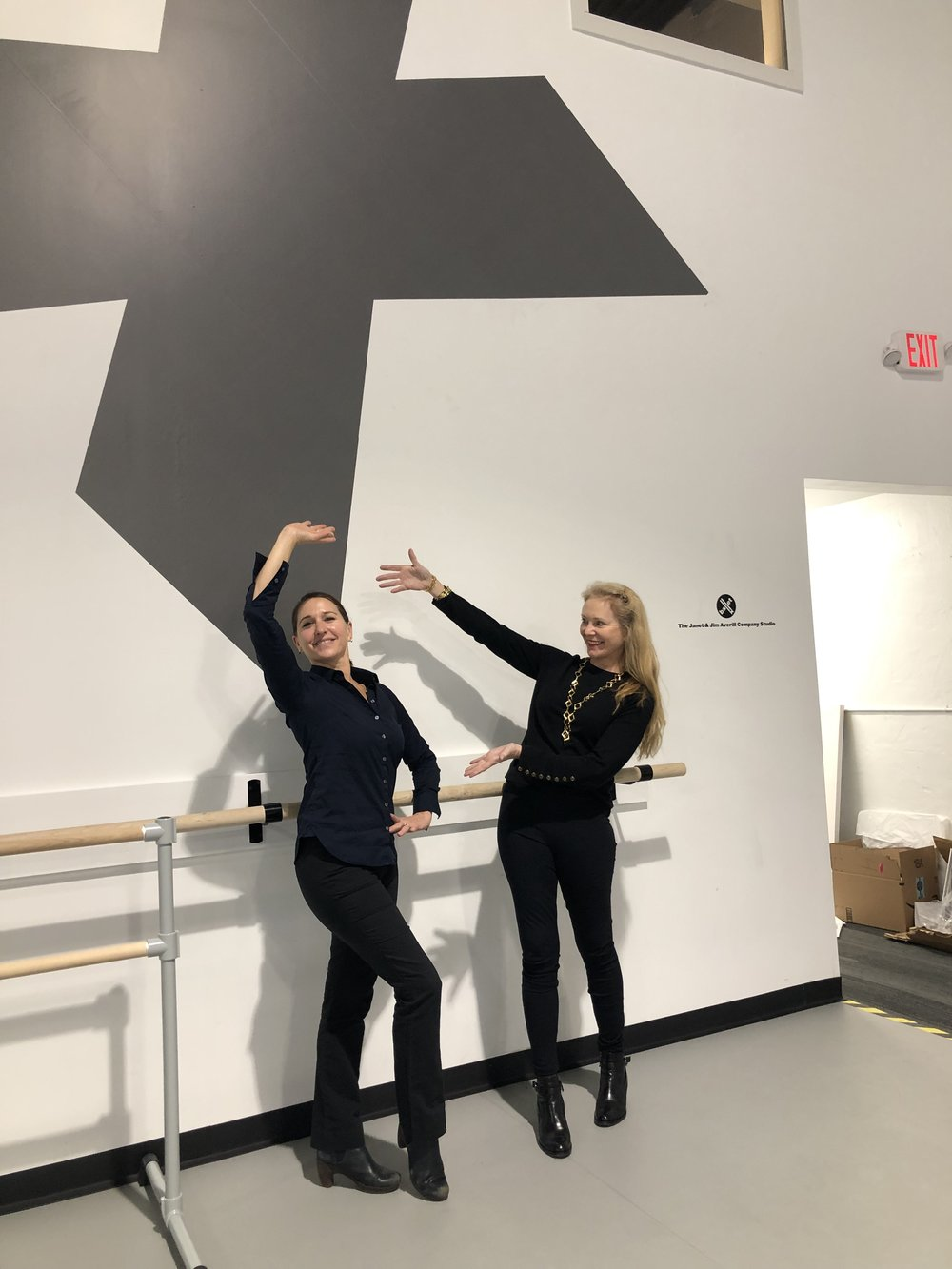 DDP Founder Liza Yntema pictured with Christine Cox, Artistic Director of BalletX, in the company's new studio during Yntema's listening tour.