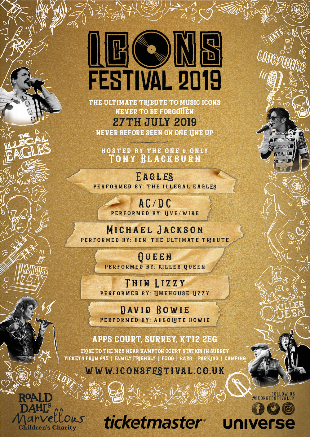 Icons Festival 2019 Tribute Band Line Up - Surrey, London, UK