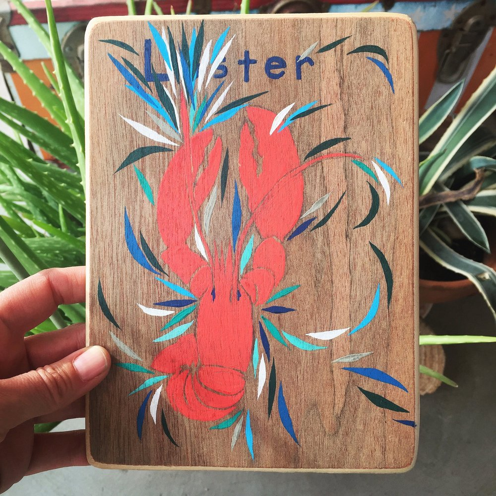 Lobster. Original hand-cut, hand painted Animal Medicine Card by Adriana Atema