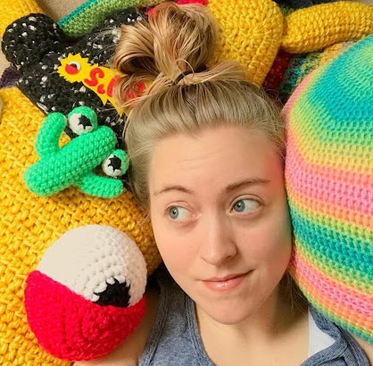 Social Media Administrator - Olivia Laws is a crochet artist currently working in rural West Tennessee. She was born and raised in Western New York but moved to Tennessee at 18. Olivia graduated with a Bachelor of Fine Arts degree in 2016 from the University of Tennessee. She specializes in large crochet sculpture but enjoys crocheting all sorts of projects. Olivia's work is typically whimsical with an exaggerated color palette. Her work has been shown in multiple galleries and is collected around the globe. When she's not crocheting Olivia's hobbies include spending time with her husband, Hunter, and their golden retriever, Grizzlie. She also enjoys reading, playing video games, and, of course, listening to music and going to shows. Her favorite type of music is pop punk/emo and her favorite band is Hawthorne Heights. Her most listened to albums right now are Bad Frequencies by Hawthorne Heights, Glimpse by Heavy Things, and Living Proof by State Champs.Instagram - @olivialawsart