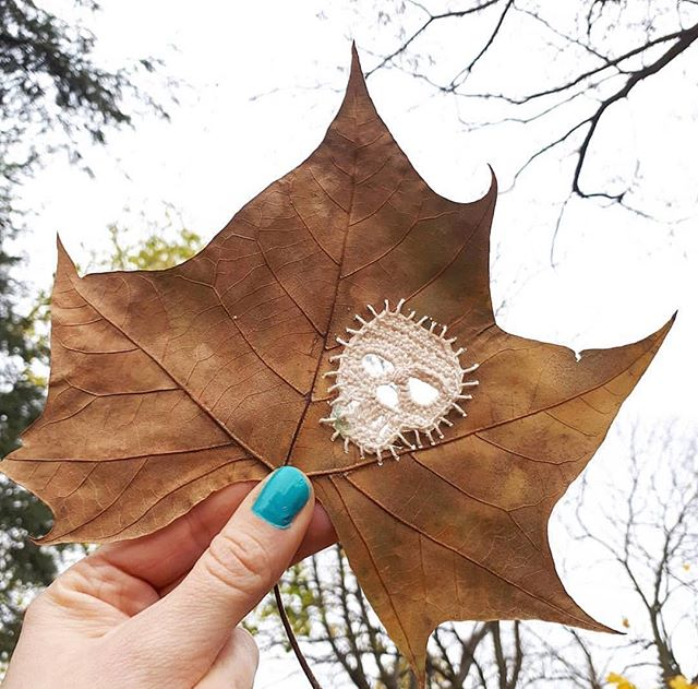 Okay, @sprinklesontopnina is seriously killing it with Yarn Punking these leaves; talk about a Yarn Punk Autumn 🍂😍