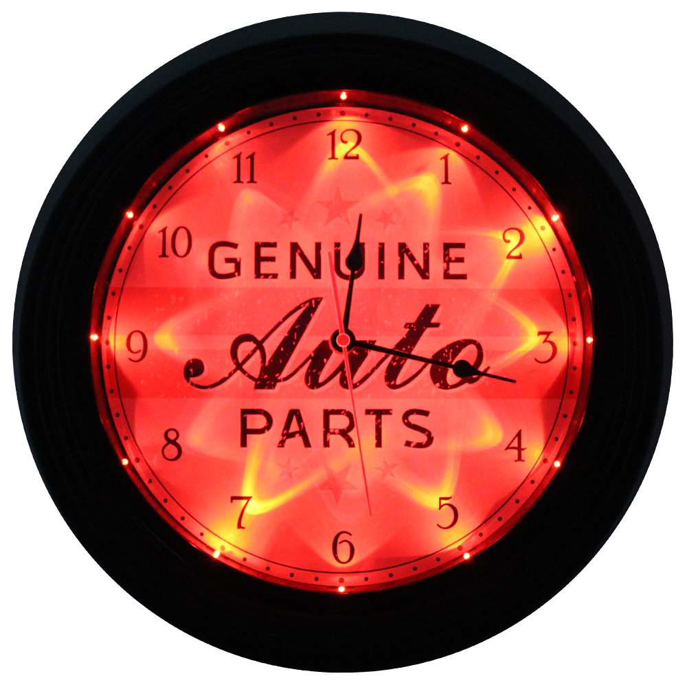 TMD5040_geniune_auto_parts_vintage_LED_clock_4_tier_frame_lit_dark.jpg