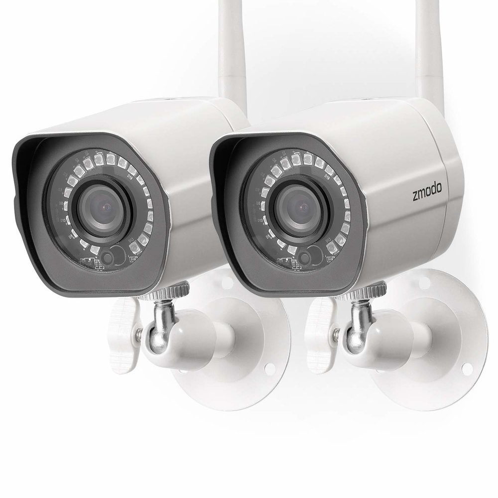 Zmodo Wireless Security Camera System (2 Pack) , Smart Home HD Indoor Outdoor WiFi IP Cameras with Night Vision, 1-month Free Cloud Recording . $65.88 on Amazon.