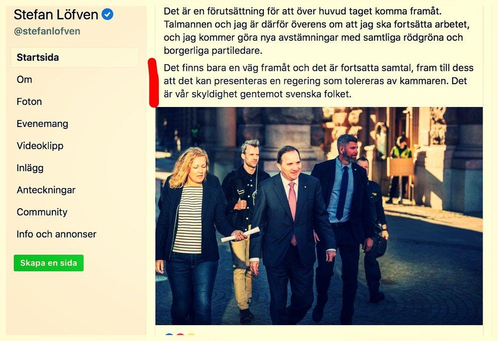 Från Stefan Löfvens Facebook igår.