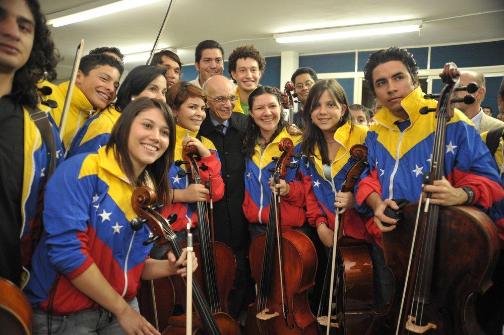 young musicians of el sistema with founder jose antonio abreu