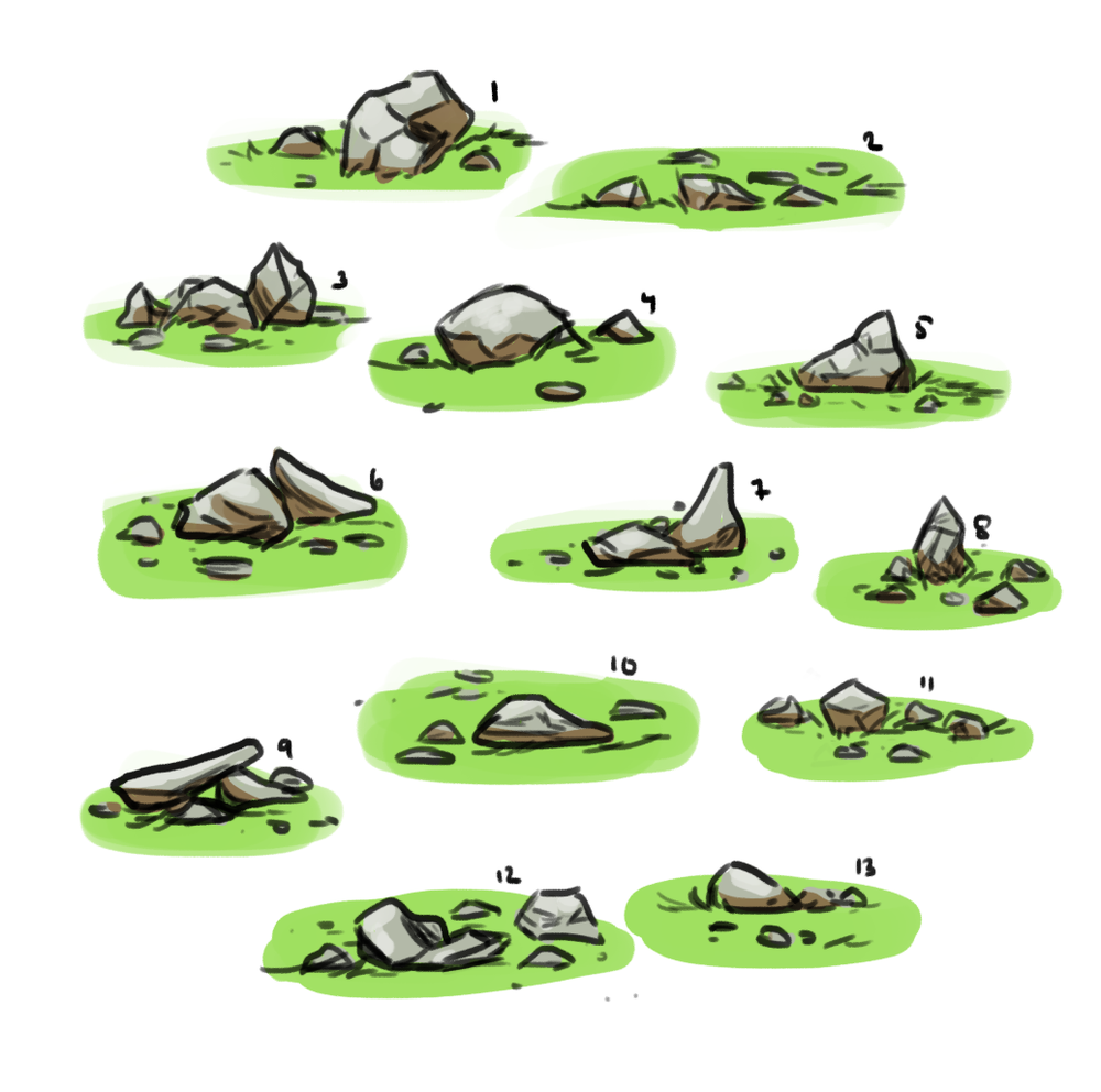 Early concept   Rocks that was suppose to be scattered in-game