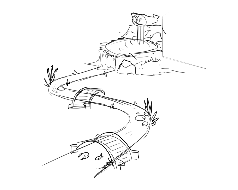 Early concept   Making a creek that will run through the in-game map