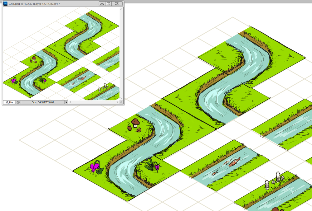 Early concept   Finalizing the shape of the creek