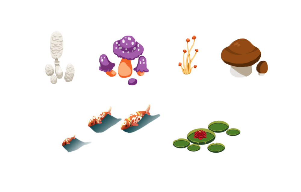 Finished asset   Mushrooms and assets for the creek such as fish and lily pads