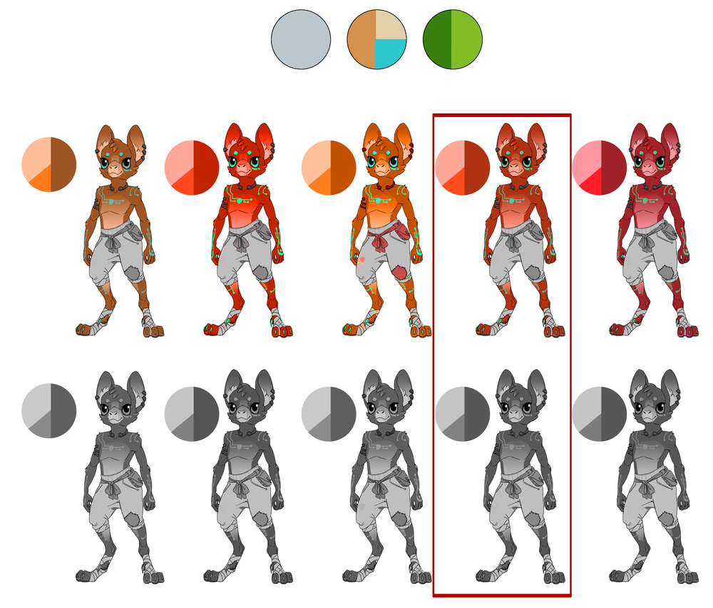 Final concept   Narrowing down base colors, the gray scale below is just to make sure that the values are all roughly the same.