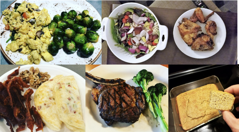 Figure 12 Very-Low Carbohydrate Diet Food Examples.  Top left: eggs and brussel sprouts. Top right: chicken and salad (spinach, olive oil, feta cheese, onions, olives, tomatoes); Bottom left: bacon, walnuts, egg omelet; Bottom center: ribeye steak and broccoli; bottom right: home-made low carbohydrate pumpkin bread (modified this recipe:  http://www.carolinesketokitchen.com/2016/10/chocolate-chip-pumpkin-muffin.html )
