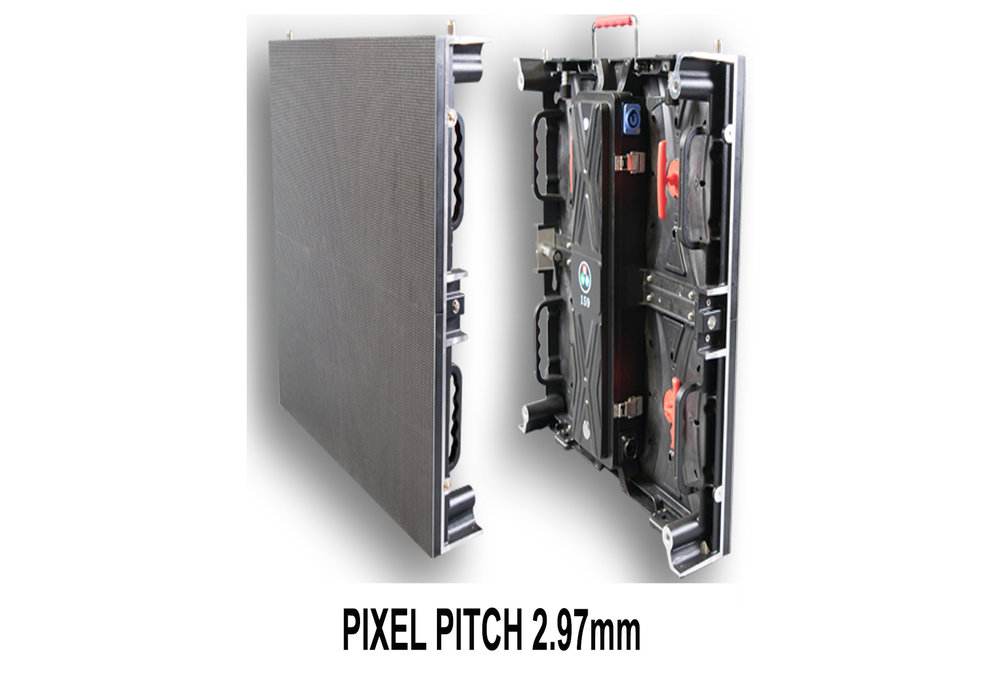 PIXEL PITCH 2.97mm - 2.97mm pixel pitch, indoor rated LED video panel suitable for rental applications. This unit is setup friendly, is simple and easy to maintain. This seamless and high-resolution display provides wide-viewing angles, giving an immersive experience that maximizes audience engagement in short viewing distances. This LED video panel is a perfect solution for rental and touring applications.