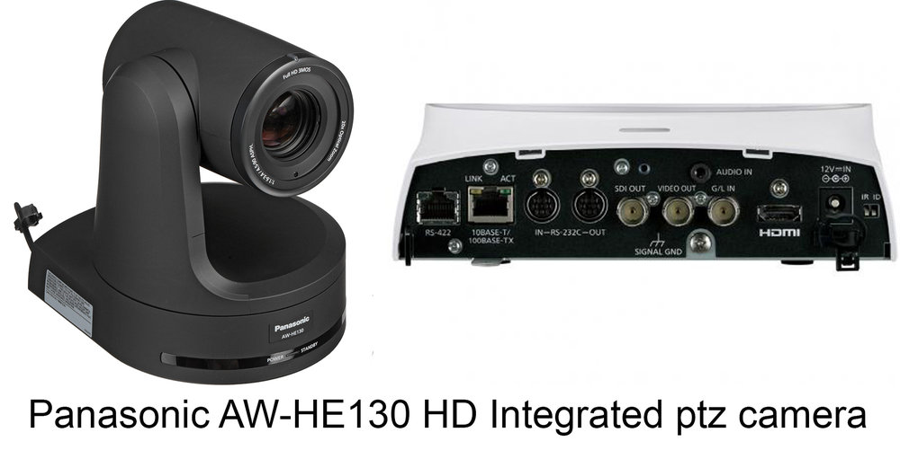 "Panasonic AW-HE130K Overview   The  Panasonic AW-HE130 HD Integrated PTZ Camera , in white, is capable of transmitting up to four channels over IP and at the same time a single channel over SDI or HDMI. IP channel 1 supports up to 1080p60 H.264 transmission, IP channel 2 up to 1080p30, and IP channels 3 and 4 up to 720p30. The SDI and HDMI outputs support up to 1080p60. In a multicast setup, the four IP channels can be sent simultaneously to a total of up to 14 devices (including one Android device).  The AW-HE130 features a high-sensitivity, low-noise 1/2.86"" 3MOS sensor, an advanced digital signal processor (that's used in Panasonic broadcast camcorders such as the AJ-PX270), and a motorized 20x zoom lens. It's designed to capture high-image quality even in low-light conditions in sports, news, corporate, and other professional applications. The camera also offers Power-over-Ethernet+ (PoE+), which delivers more power than standard PoE and also allows for quicker and less expensive installation. Other features include 12-axis color correction, built-in neutral density filters, and optical image stabilization.    4-Channel IP Transmission The AW-HE130 is capable of transmitting 4 channels of video over IP plus over a 3G-SDI or HDMI output at the same time. IP channel 1 and the 3G-SDI/HDMI outputs deliver up to 1080p60 video, IP channel 2 up to 1080p30, and IP channels 3 and 4 up to 720p30.  1/2.86"" 3MOS Sensor Equipped with three advanced 1/2.86"" Full HD MOS sensors and DSP (Digital Signal Processor), the AW-HE130 achieves high sensitivity, a high S/N ratio, and high resolution through the use of advanced video processing.  Optical Image Stabilizer and Digital Extender Optical Image Stabilization System (OIS) automatically minimizes the effect of small vibrations from the surface where the camera is mounted, whether this is caused by the opening and closing of doors, nearby speakers, or other disturbances. A high performance 20x zoom lens with 1.4x digital extender zoom can increase the effective focal length of the lens by 40% while delivering smooth, high-resolution video.  IP Transmission without Separate Encoder There is no need for a separate encoder normally required when streaming video and audio via IP.  POE+ for Lower Installation Cost By connecting to network devices that support the IEEE 802.3 at POE+ standard, power can be supplied via LAN cable. Since it is not necessary to install a power supply or even a local AC outlet, installation costs can be significantly reduced.  Image Monitoring via Windows, Mac, and Mobile Using an IP browser, such as Internet Explorer or Safari, it is possible to set up and control the camera from a remote location. This feature simplifies the management of cameras around a campus or across a worldwide enterprise network. IP video monitoring and remote camera control can also be performed from mobile terminals such as iPhones, iPads, and Android devices.  Flexible IP Control Architecture Up to a hundred AW-HE130 cameras can be controlled via IP from a single AW-RP120G or AW-RP50 controller (optional), or from a PC. One AW-HE130 can also be simultaneously controlled by up to five AW-RP120G or AW-RP50s controllers via IP. Optional Remote Operation Panel AK-HRP200G can be used for precise color adjustment.  Advanced Color Adjustment In addition to the conventional twelve axes, three additional axes have been added for the skin tone area. This makes it possible to reproduce skin tones with greater precision.  Color Temperature Adjustment In addition to the usual white balance modes, a new variable color temperature-based function has been added. This makes it easier to make the precise camera adjustments required for different lighting conditions.  Dynamic Range Stretch (DRS) / Hybrid DNR Black defects, halation, and washed-out colors are minimized for video images with a visually broad dynamic range (DRS). In addition, with Hybrid Digital Noise Reduction (Hybrid DNR), two types of noise reduction, 2D, and 3D, are used together to enable clear video capture under a wide range of lighting conditions, with minimal after-image blurring or image degradation.  Night Mode The AW-HE130 can deliver high-quality monochrome video in total darkness when the camera's Night Mode is used in conjunction with an optional IR illuminator.  Freeze During Preset Function The Freeze During Preset function may be enabled to freeze the video during preset playback. The immediately preceding still image is output during preset movements so that the swiveling movement is not displayed, making operations possible with one camera.  Audio Input Function The AW-HE130 supports audio input, embedding, and encoding. The input from the camera's switchable mic/line input can be combined with the SDI, HDMI, and streaming outputs for mixing, recording, or transmission.  Quiet Operation Thanks to its fanless design and advanced pan/tilt mechanism, the AW-HE130 is very quiet and greatly reduces audio noise during video capture.  Smooth Pan/Tilt Movement The AW-HE130 achieves smoother and more natural movement during on-air shots. The pan/tilt head also has a wide shooting range, with a pan range of ±175° and a tilt range of -30 to 210°. The pan/tilt drive provides high-speed operation at a maximum of 60°/sec, excellent response to remote control operation, and precise stop control. These features combine to accurately capture fast-action sports scenes or smooth concert footage. The noise level during operation is also very low, at NC35 or less, which is ideal for use in quiet environments. (Depending on the position of the pan and tilt, the unit may be reflected in the image.)  Compatible Controllers AW-RP120, AW-RP50, AK-HRP200  Other Features Equipped with ND filters (through, 1/8, 1/64)Four assignable scene filesPreset memory of up to 100 positionsFunctions such as freeze during preset and digital extender zoom can be assigned to the user buttons on compatible controllersRS-422 remote terminal; up to five units can be controlled via serial control from a controllerRS-232C remote terminal (standard serial communication support)Up to four units can be operated with a wireless remote controller (AW-RM50G, sold separately)Easy installation thanks to use of turn/lock mechanismColor variations (black/white) can be chosen for different applications or conditions"