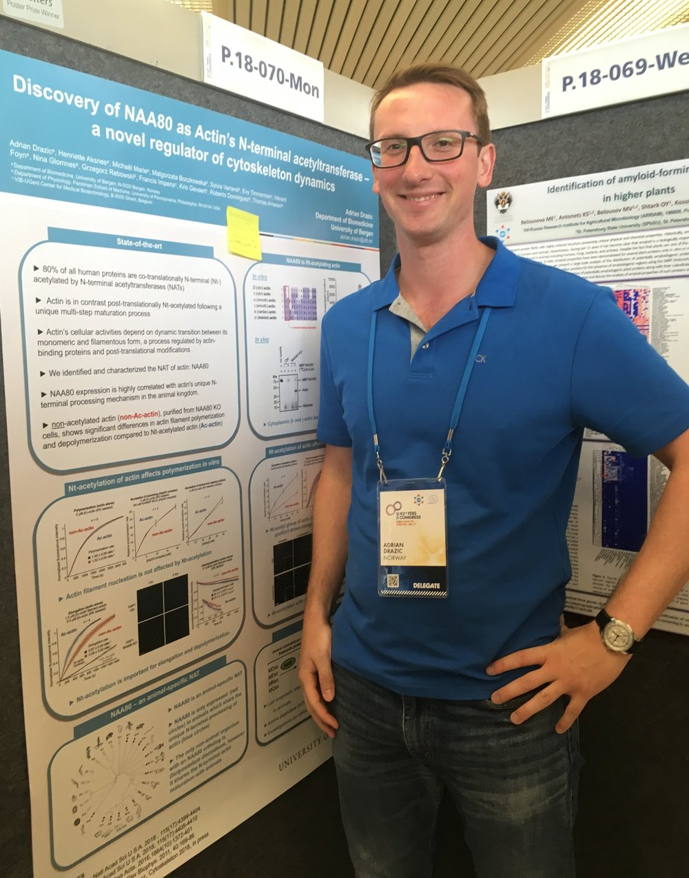 "Adrian Drazic's poster ""Discovery of NAA80 as actin's N-terminal acetyltransferase – a novel regulator of cytoskeleton dynamics"" won the FEBS Letter daily poster award"