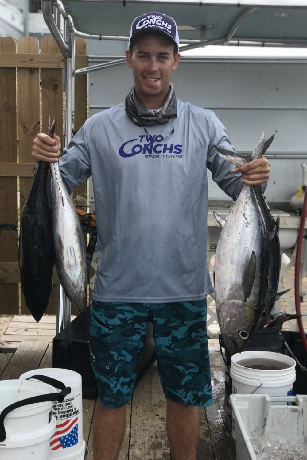 First mate Captain Dylan holding up some of our catch!