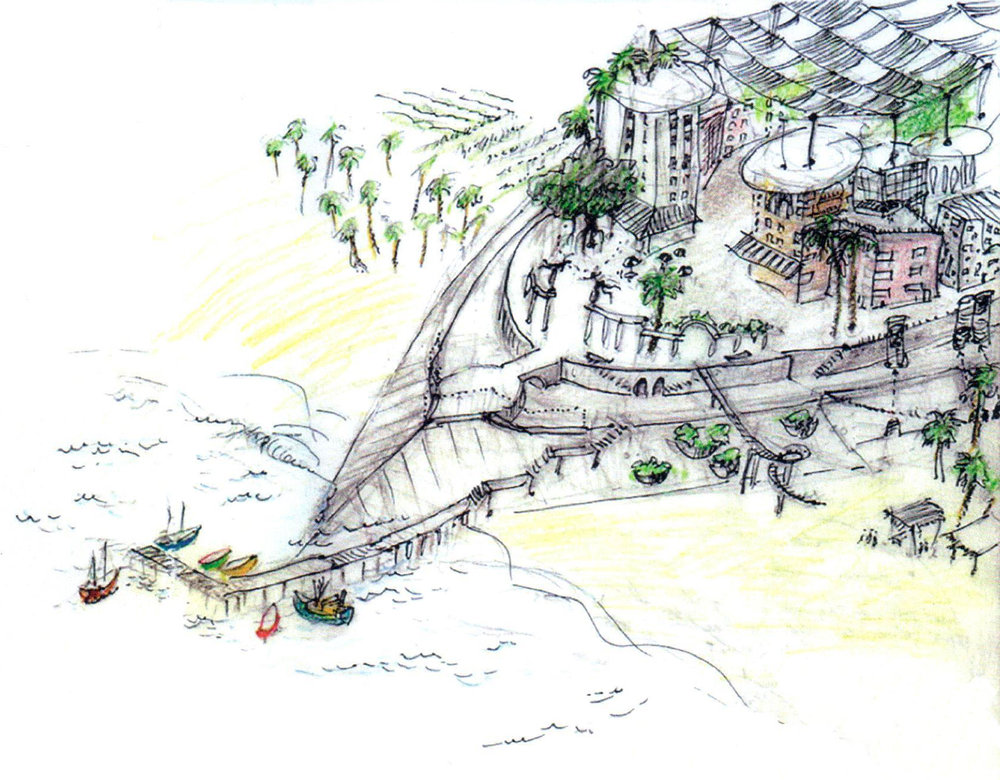 A coastal ecovillage on an elevated platform, shaped to divert wave energy during storm events