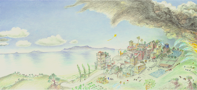 Vision of a fire-safe community for Mediterranean climates (drawing by Richard Register)